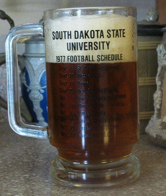 1977 Glass Mug from Horatios with South Dakota State University Football Schedule