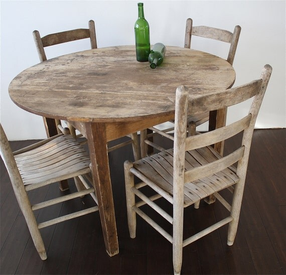 Round wood dining table set with 4 chairs by reclaimbk on etsy for Wood round dining table for 4