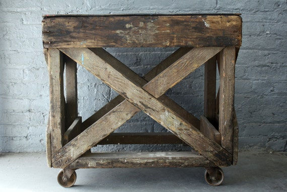 vintage wood factory cart on casters