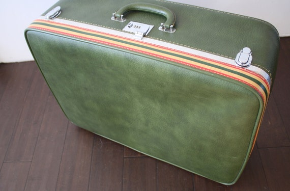 ventura vintage suitcase // green with stripes // SALE, HALF OFF