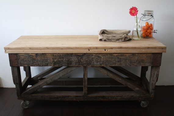 vintage factory cart with recycled bowling alley top // buffet table or tv console