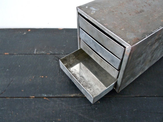 industrial metal box with drawers // desk organizer // jewelry box