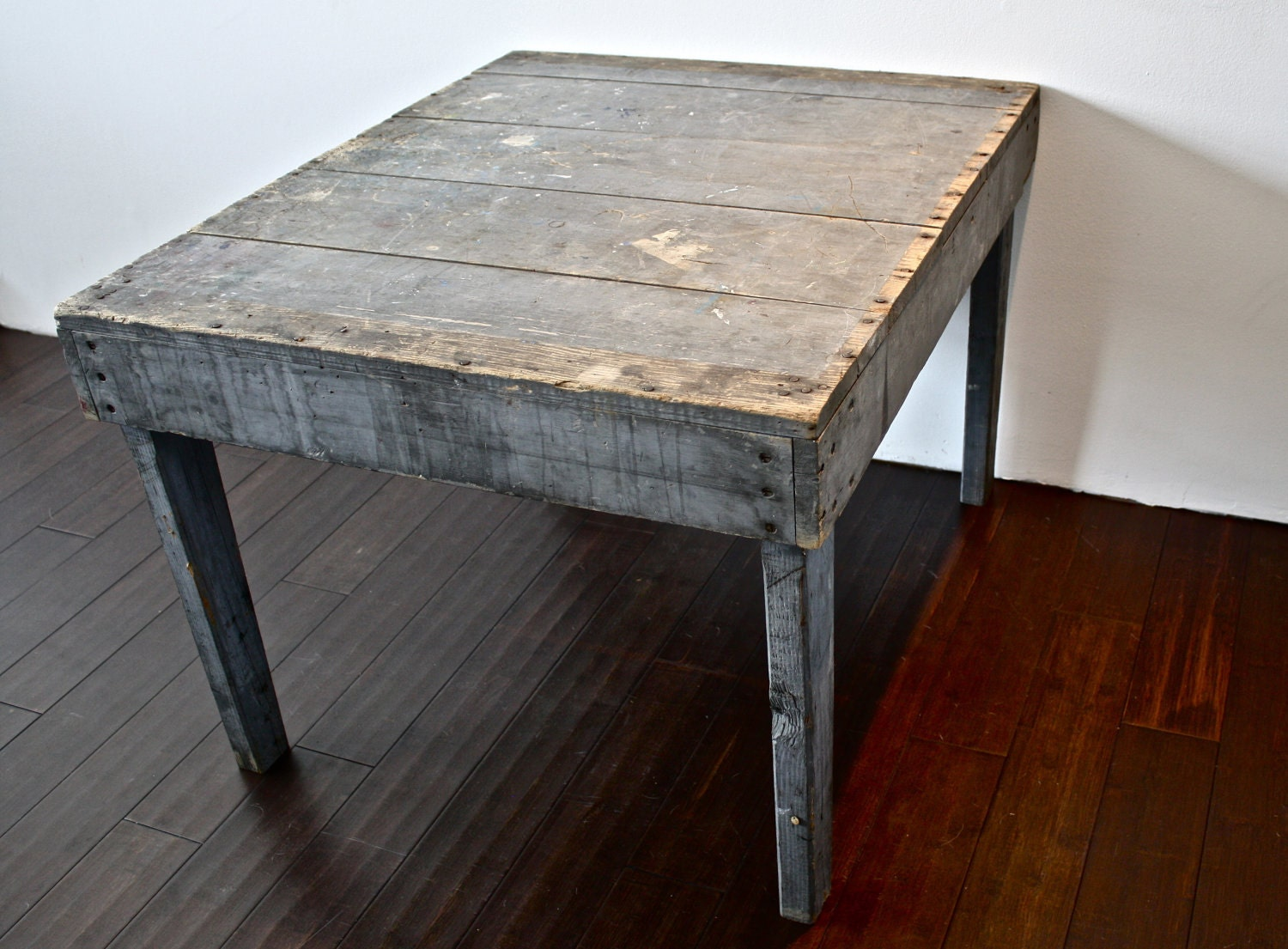 Grey Wood Plank Coffee Table By Reclaimbk On Etsy