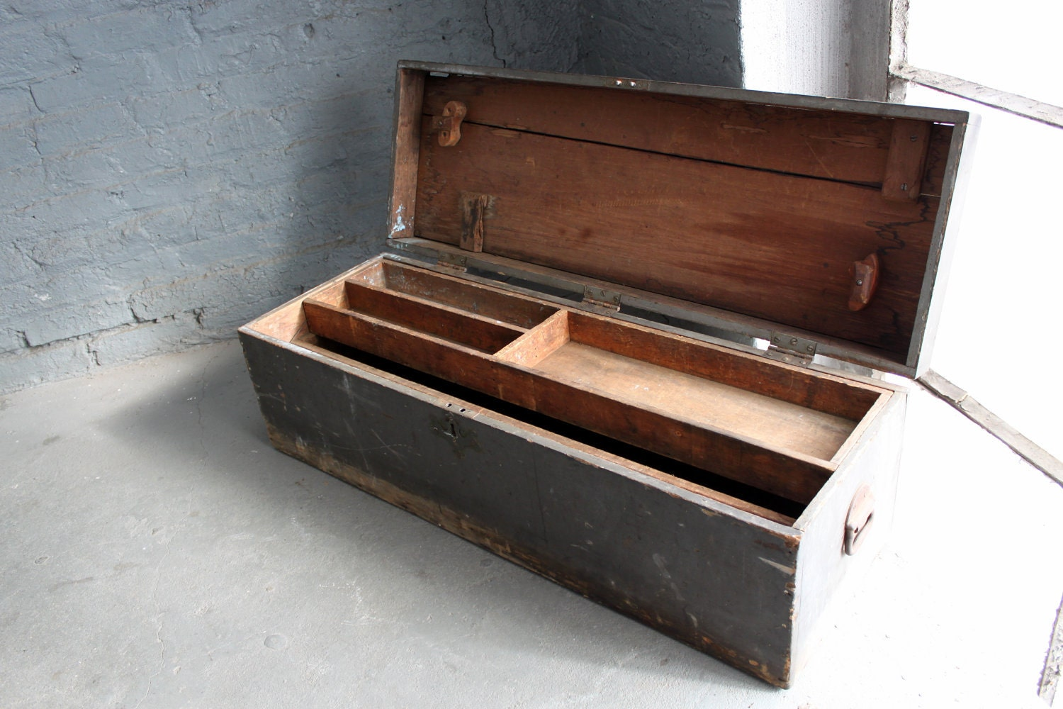 vintage wood tool box by Reclaimbk on Etsy