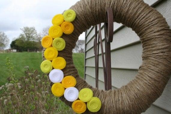 Jute Yarn Wreath/Spring/Summer/Everyday/Felt Flowers/Roses/Rosettes
