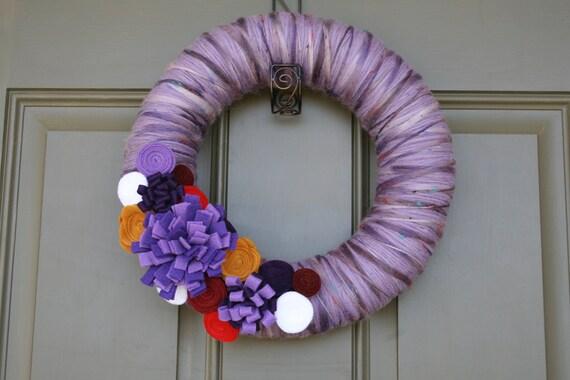 REDUCED Yarn Wreath/Felt Flowers/Purple Ribbon