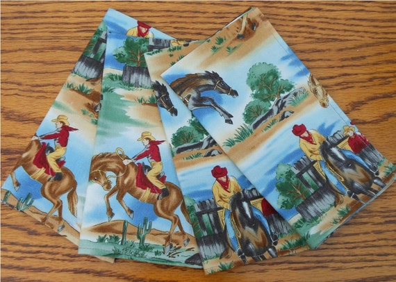 Cowboy Cloth Napkins - Set of 4