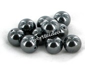 20 10MM Large hole NON Magnetic Hematite Beads - Beads Jewelry Supplies Crafting Supplies Jewelry Making