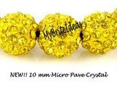 5 Yellow 10mm Micro Pave Rhinestone Disco Ball Beads