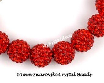 5 Red 10mm Swarovski Crystal Elements  Disco Ball Beads aka Pave Rhinestone Disco Ball Beads