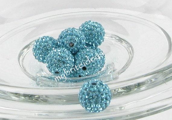 5 Lake Blue 10mm Swarovski Crystal Elements Disco Ball Beads aka Pave Rhinestone Disco Ball Beads
