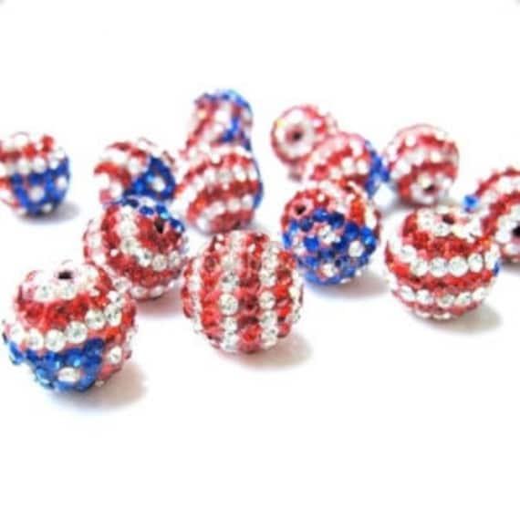 12mm USA Red White and Blue Swarovski Crystal Elements Disco Ball Beads aka Pave Rhinestone Disco Ball Beads Jewelry Supplies Craft supplies