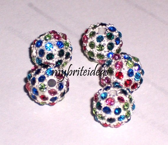 5 Rainbow 10mm Micro Pave Rhinestone Disco Ball Beads