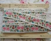 1y Vintage Jacquard Embroidered Floral Flower Ribbon Trim Doll Dress Supply Scrapbook Sewing Trim Embellishment USA