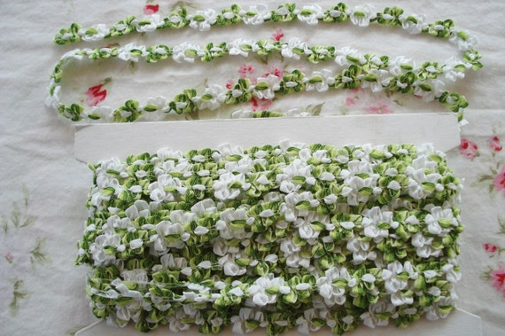 1y Vintage French Ombre Green & White Rococo Rosette Flower Ribbon Hat Doll Trim Supply Scrapbook Paper Crafting Embellishment France