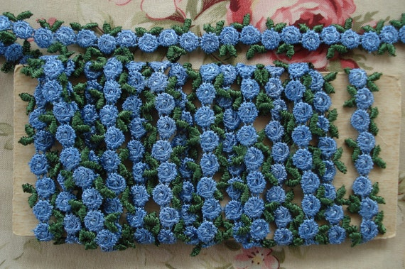 2y Vintage American French Blue Venise Applique LaceMini Rosette Flower Ribbon Hat Doll Trim Milliners Supply Scrapbook Paper Crafting