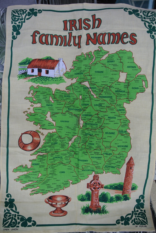 Irish Family Names Tea Towel Wall Hanging Map Of Ireland