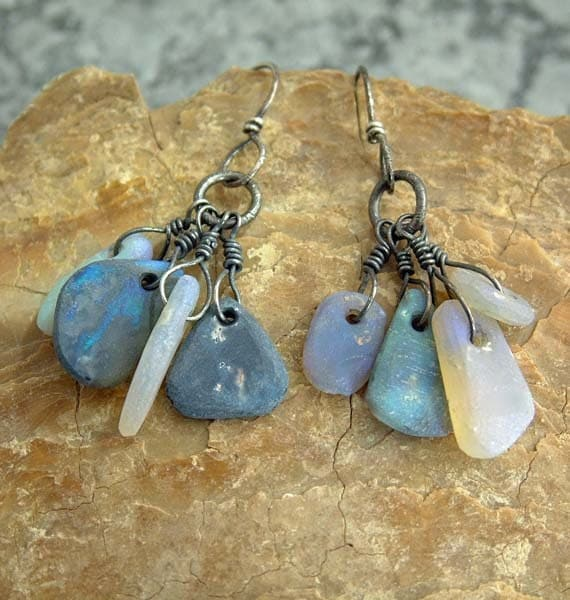 Earrings hand forged oxidized silver with Australian Crystal Opals
