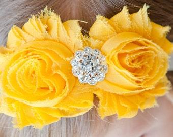 Double Golden Yellow Shabby Chiffon Flower Headband, baby, newborn, infant, toddler, adult