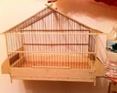 Hanging birdcage (natural wood & wire, but can stain or paint)