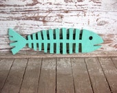 Fishbones, beach decor, wall art, fish, whimsical, wood sign, cottage, coastal, distressed, shabby chic