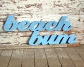 Beach Bum words wood sign beach decor cottage coastal distressed shabby chic