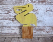 Pelican bird wood sign beach decor cottage coastal distressed whimsical shabby chic