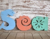 Sea word wood sign beach decor cottage rustic distressed shabby chic