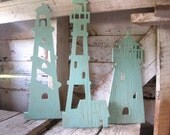 Lighthouse trio, wood, lighthouse, wall art, beach decor, nautical, cottage, coastal, distressed, shabby chic