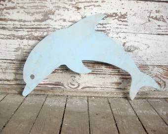 Dolphin, porpoise, wall art, beach decor, whimsical, wood sign, beach cottage, coastal, distressed, shabby chic