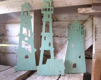 Lighthouse trio, wood, lighthouse, wall art, beach decor, nautical, cottage, coastal, distressed, shabby chic