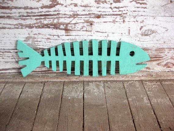Fishbones, beach decor, wall art, fish, whimsical, wood sign, cottage, coastal, distressed, shabby chic