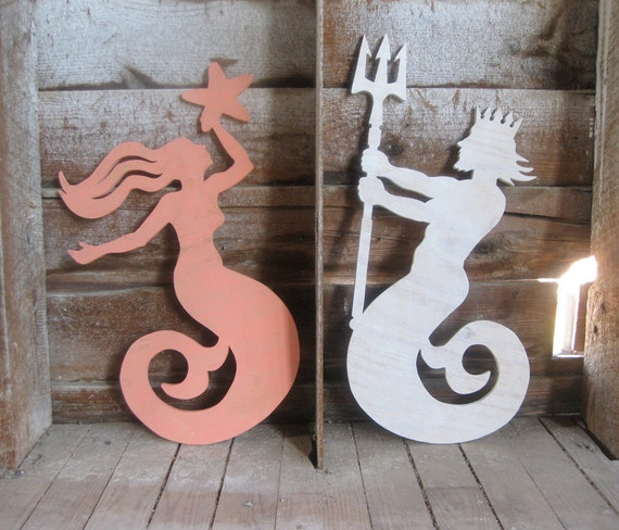 Mermaid and Neptune beach decor wood signs cottage coastal rustic distressed shabby chic