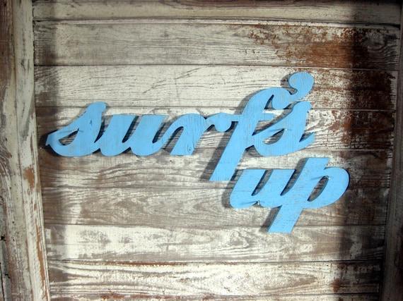Surf's Up surfer jargon wood sign beach decor cottage coastal distressed shabby chic