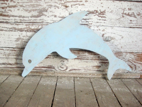 Dolphin, porpoise, wall art, beach decor, whimsical, wood sign, beach cottage, coastal, distressed, shabby chic