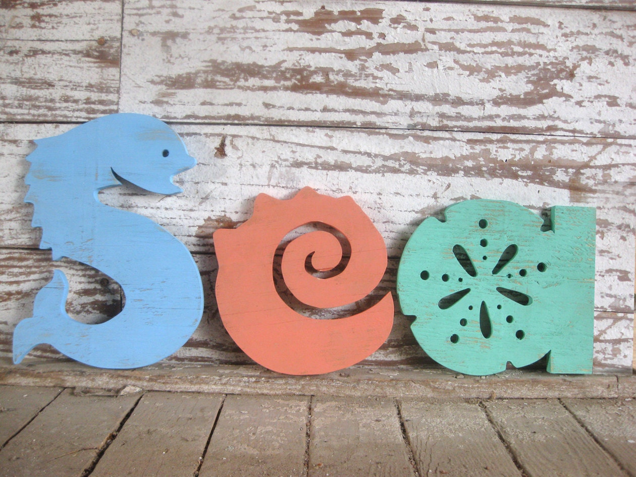 Wooden Coastal Decor: Sea Word Wood Sign Beach Decor Cottage Rustic Distressed