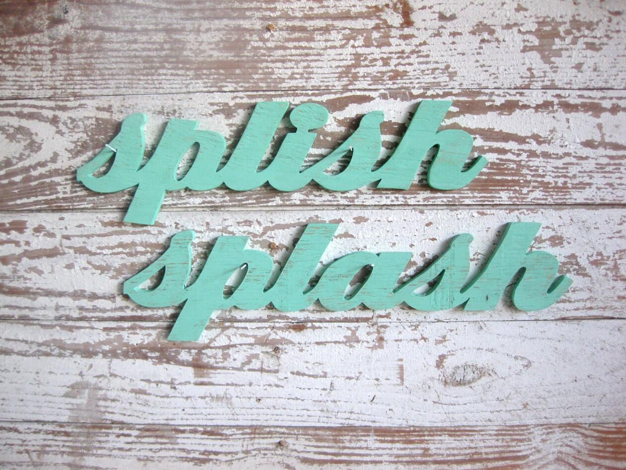 zoom. splish splash wood sign shabby chic bathroom beach or lake