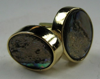 Paua Shell Cuff Links with Gold-Tone Bezel