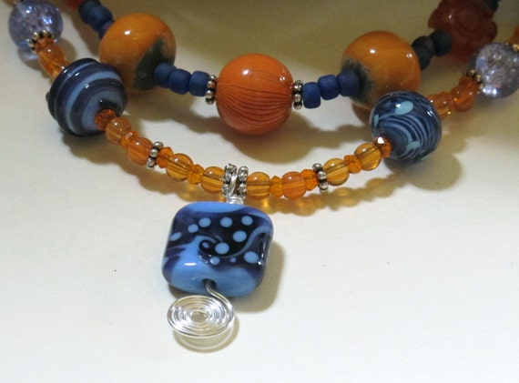 Carnelian, Shell Orange and Blue Lampwork Beaded Necklace