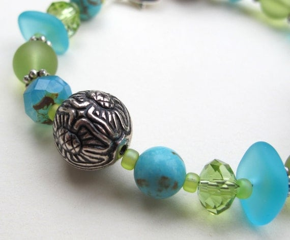 Turquoise and Sea Glass Bracelet