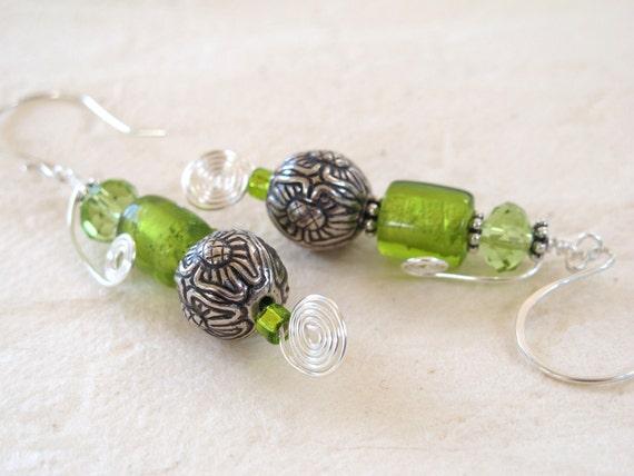 Chartreuse Green Murano Glass Earrings