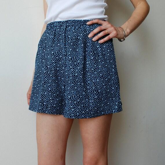 Sample SALE  - 50 % OFF Blue highwaisted loose fit polka dot culotte shorts. Size S (Orig. price 45 USD)
