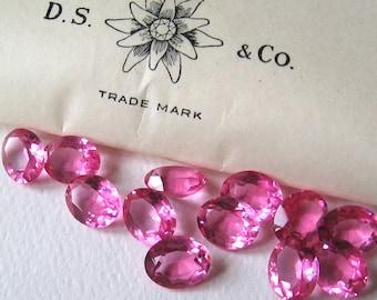 12 Vintage Rose Pink Swarovski Oval Crystals 10x8mm Art. 4140