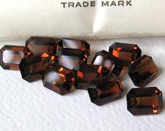 12 Vintage Smoked Topaz Swarovski Octagon rectangle Crystals 8x6mm