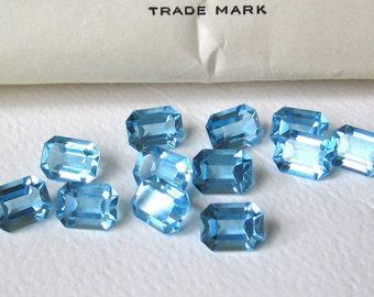 12 Vintage Aquamarine Aqua Swarovski Octagon Crystals 8x6mm