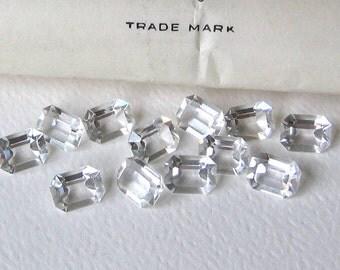 12 Vintage Crystal Swarovski Octagon rectangle Crystals 8x6mm