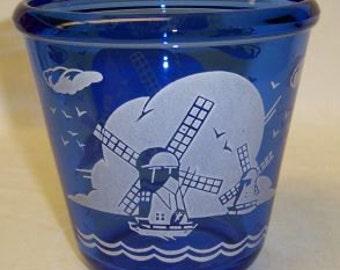 Hazel Atlas Cobalt Glass WINDMILL 4 Inch High ICE Pail with Rim