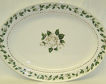 Hall China CAMEO ROSE 13 1/4 Inch Oval Serving Platter