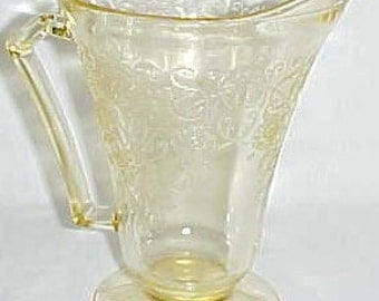 Hazel Atlas Yellow FLORENTINE 2 POPPY 2 Depression Glass Footed Water PITCHER