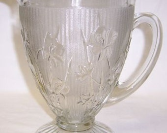 Jeannette Glass Crystal IRIS and HERRINGBONE 9 1/2 Inch High Footed Water Pitcher